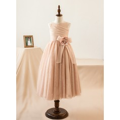 A-Line/Princess Tea-length Flower Girl Dress - Tulle Sleeveless Straps With Flower(s) (010103718)