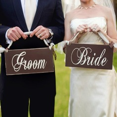 Bride and Groom Wooden Wedding Sign (set of 5 pairs) (131103617)