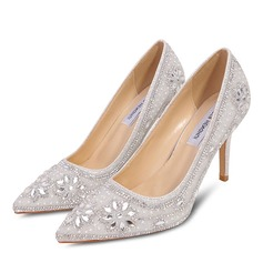 Women's Microfiber Leather Stiletto Heel Closed Toe Pumps With Stitching Lace Crystal Pearl