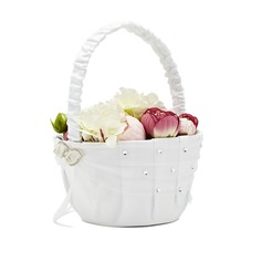 Pure Flower Basket in Satin With Rhinestones