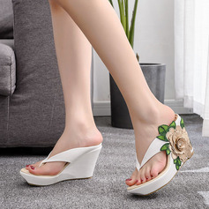Kids' Leatherette Wedge Heel Flip-Flops Peep Toe Platform Sandals Slingbacks Wedges Beach Wedding Shoes With Flower Applique