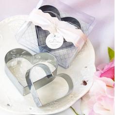 Doppelte Herzen Edelstahl Kuchen und Ausstecher Mold mit Bänder/Etikett (Set mit 2 Stück)
