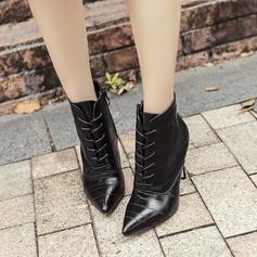 Frauen PU Stöckel Absatz Absatzschuhe Stiefelette mit Reißverschluss Zuschnüren Schuhe