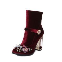 De mujer Ante Tacón ancho Salón Cerrados Botas Botas al tobillo con Crystal Hebilla zapatos
