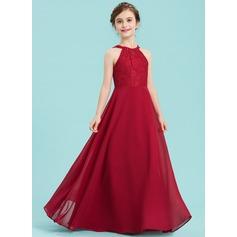 A-Linie/Princess-Linie U-Ausschnitt Bodenlang Chiffon Kleid für junge Brautjungfern (009148410)