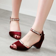 Women's Suede Chunky Heel Sandals MaryJane With Buckle Rhinestone (047121073)