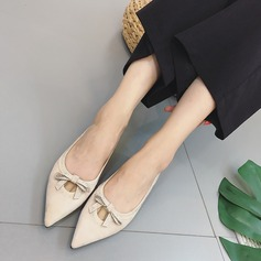 Women's Suede Flat Heel Closed Toe Flats With Bowknot