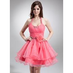 A-Line/Princess Halter Short/Mini Organza Homecoming Dress With Ruffle Beading Flower(s)