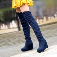 Women's Suede Wedge Heel Closed Toe Wedges Boots Over The Knee Boots shoes