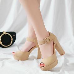 Mulheres Couro Salto robusto Sandálias Bombas Plataforma com Fivela sapatos