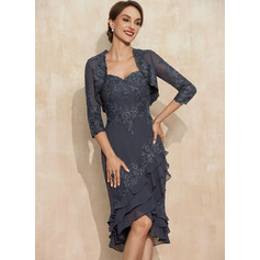 Sheath/Column Sweetheart Asymmetrical Chiffon Lace Mother of the Bride Dress With Sequins Cascading Ruffles (008235586)