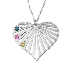 Custom Silver Three Name Necklace Heart Necklace Birthstone Necklace (288209262)