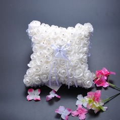 Elegant Rose Ring Pillow in Cloth With Rhinestones/Lace
