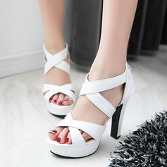 Kvinnor Konstläder Stilettklack Sandaler Plattform Peep Toe skor