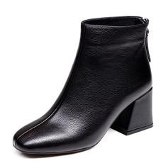 Kvinner PU Stor Hæl Lukket Tå Støvler Ankelstøvler med Glidelås sko