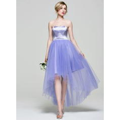 Vestidos princesa/ Formato A Amada Assimétrico Charmeuse Tule Vestido de madrinha