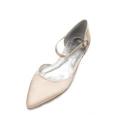 Femmes Soie comme du satin Talon bas Bout fermé Chaussures plates Sandales avec Boucle