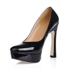 Femmes Cuir verni Talon bottier Escarpins Plateforme Bout fermé chaussures