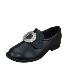 Girl's Leatherette Flat Heel Closed Toe Flats With Rhinestone
