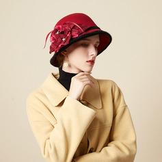 Señoras' Hermoso/Glamorosa/Encanto Mezcla de lana con Pluma/Flores de seda Bombín / cloché Sombrero