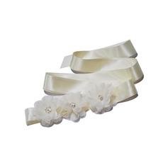 Elegant Satin Schleifenbänder/Stoffgürtel mit Blume