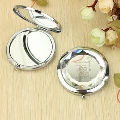 Personalizado Garota adorável & menino Aço inoxidável Espelho Compacto