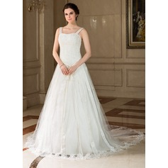 A-Line/Princess Sweetheart Chapel Train Tulle Wedding Dress With Lace Beading Sequins Bow(s)