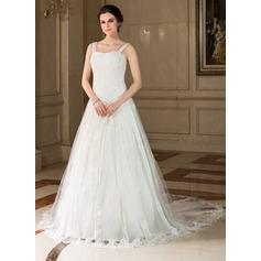 Forme Princesse Bustier en coeur Traîne mi-longue Tulle Robe de mariée avec Dentelle Emperler Sequins À ruban(s)
