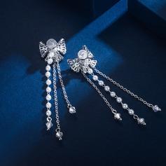 Bow Shaped Zircon Copper With Zircon Women's Fashion Earrings (Sold in a single piece)