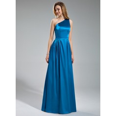 A-Line/Princess One-Shoulder Floor-Length Charmeuse Bridesmaid Dress With Ruffle