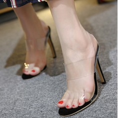 Mulheres Plástico Salto agulha Peep toe Bombas Sandálias Sapatos abertos