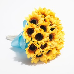 Unique Sunflower Round Satin Bridesmaid Bouquets (123031423)