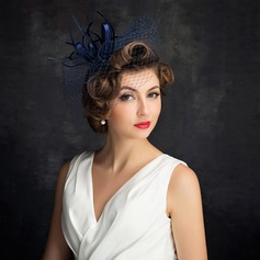 Ladies' Elegant Cambric/Feather/Tulle With Feather/Tulle Fascinators/Tea Party Hats (196105065)
