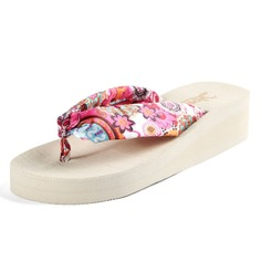 Women's Silk Like Satin Wedge Heel Sandals Wedges Flip-Flops shoes