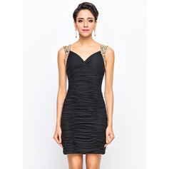 Sheath/Column Sweetheart Short/Mini Chiffon Cocktail Dress With Ruffle Beading Sequins