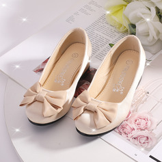 Jentas Lukket Tå Satin Flower Girl Shoes med Bowknot