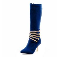 De mujer Ante Tacón stilettos Botas a la rodilla con Brillo Chispeante zapatos