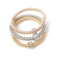 восхитительно цинковый сплав с горный хрусталь Женщины Модные браслеты (набор из 3)