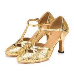 Femmes Pailletes scintillantes Sandales Escarpins Salle de bal avec Lanière en T Boucle Chaussures de danse