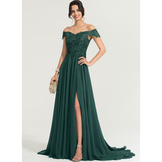 A-Linie Off-the-Schulter Sweep/Pinsel zug Chiffon Abendkleid mit Pailletten Schlitz Vorn