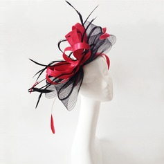 Ladies' Romantic Feather/Net Yarn With Feather Fascinators