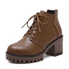 Femmes PU Talon bottier Escarpins Plateforme Bottes Bottines avec Zip Dentelle chaussures
