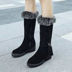Women's Suede Chunky Heel Boots Mid-Calf Boots With Lace-up Tassel shoes