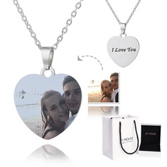 Custom Silver Heart Engraving/Engraved Color Printing Photo Necklace - Mother's Day Gifts (288234220)