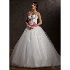 Ball-Gown Sweetheart Chapel Train Tulle Wedding Dress With Ruffle Appliques Lace Bow(s) (002011413)