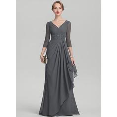 A-Linie/Princess-Linie V-Ausschnitt Sweep/Pinsel zug Chiffon Kleid für die Brautmutter mit Perlstickerei Pailletten Gestufte Rüschen