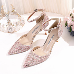 Vrouwen Kunstleer Sprankelende Glitter Stiletto Heel Closed Toe Pumps met Lovertje