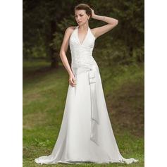 A-Line/Princess Halter Court Train Chiffon Wedding Dress With Ruffle Lace