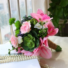 Lindo Forma livre Cetim/Seda artificiais Buquês de noiva -