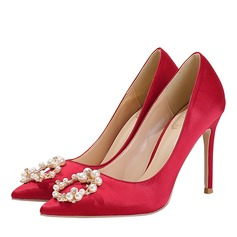 Women's Satin Stiletto Heel Closed Toe Pumps With Crystal Pearl